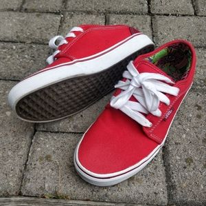 VANS chukka low skate shoes red white brown